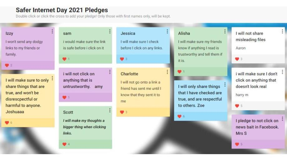 Safer Internet Day Pledges