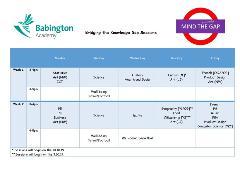 Bridging the Knowledge Gap Timetable