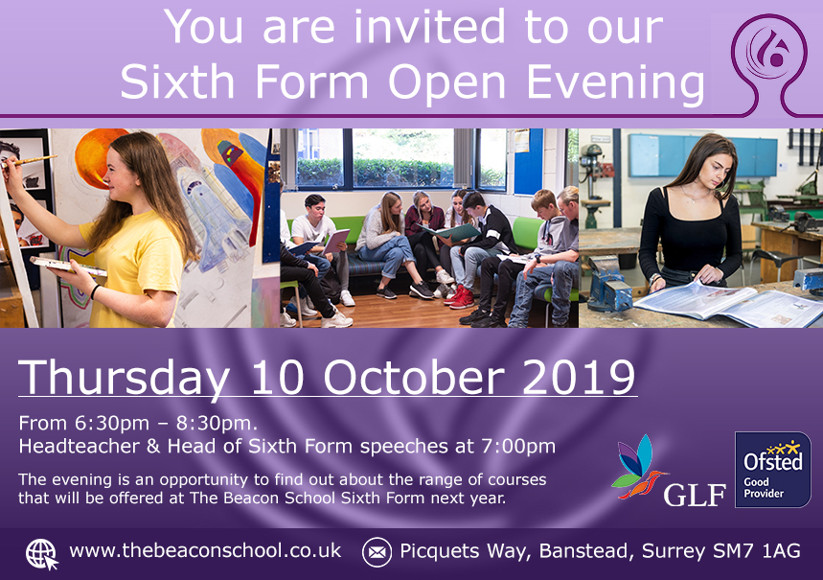 Sixth form open evening website ad v2