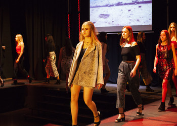 Girls lit up in lights in the Blackheath High School Fashion Show 2019
