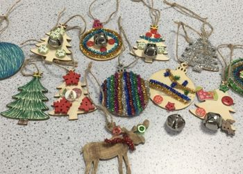 Making Christmas decorations in STEAM Club