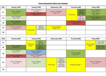 Science study leave revision timetable -years 11, 12, and 13