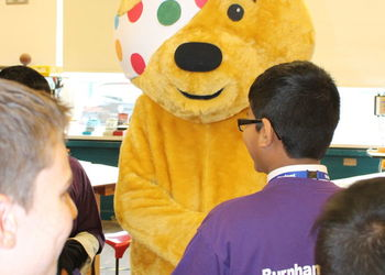 Pudsey the Bear visits school ahead of Children in Need night