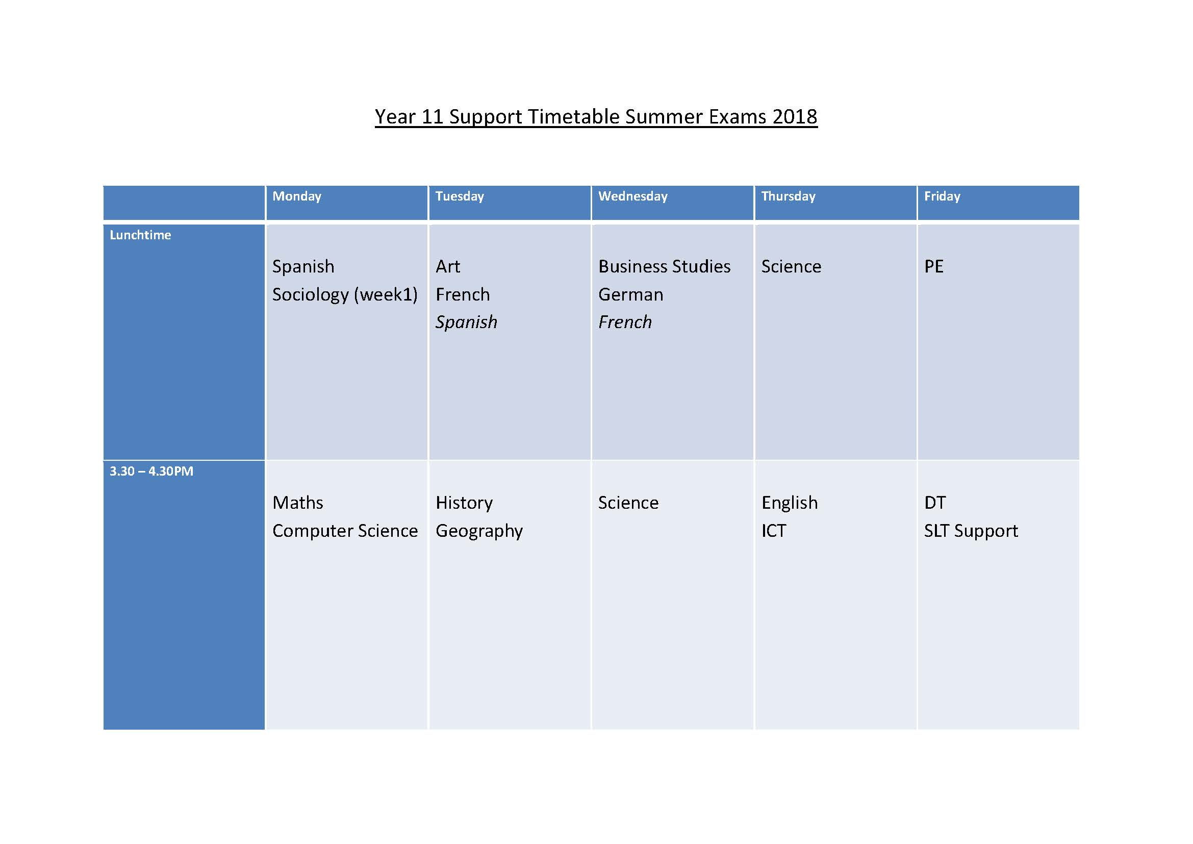 Year 11 Support Timetable Summer Exams 2018 Page 1
