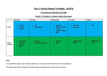 Year 11 Mock Exam Support Timetable