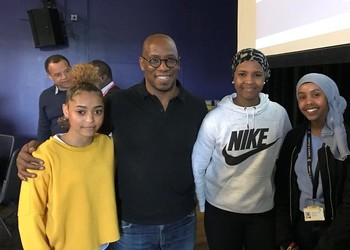 Sporting legends, Ian Wright & Garth Crooks inspire  students at Commonwealth celebratory lunch