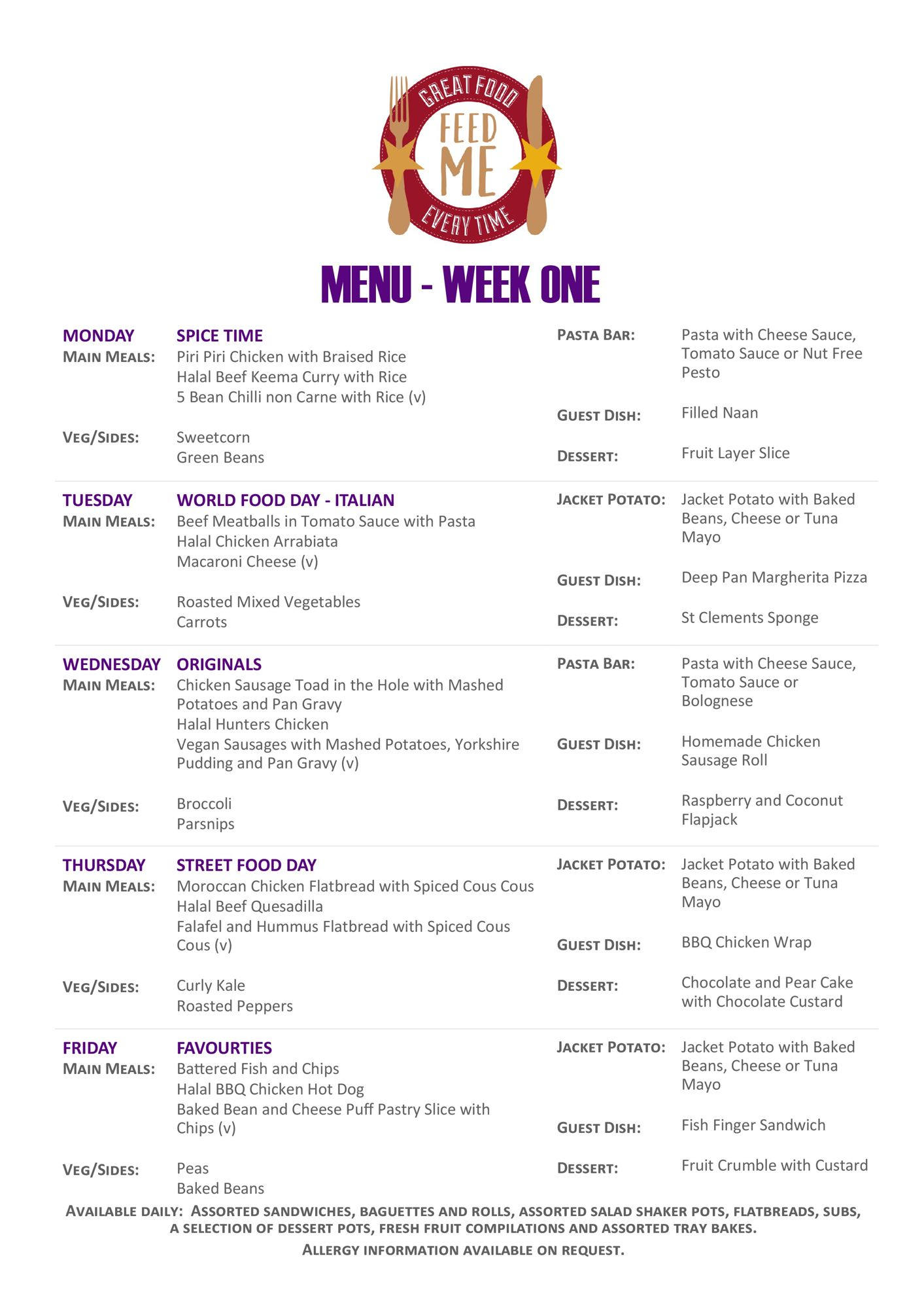 Caterham portrait weekly menu purple page 0