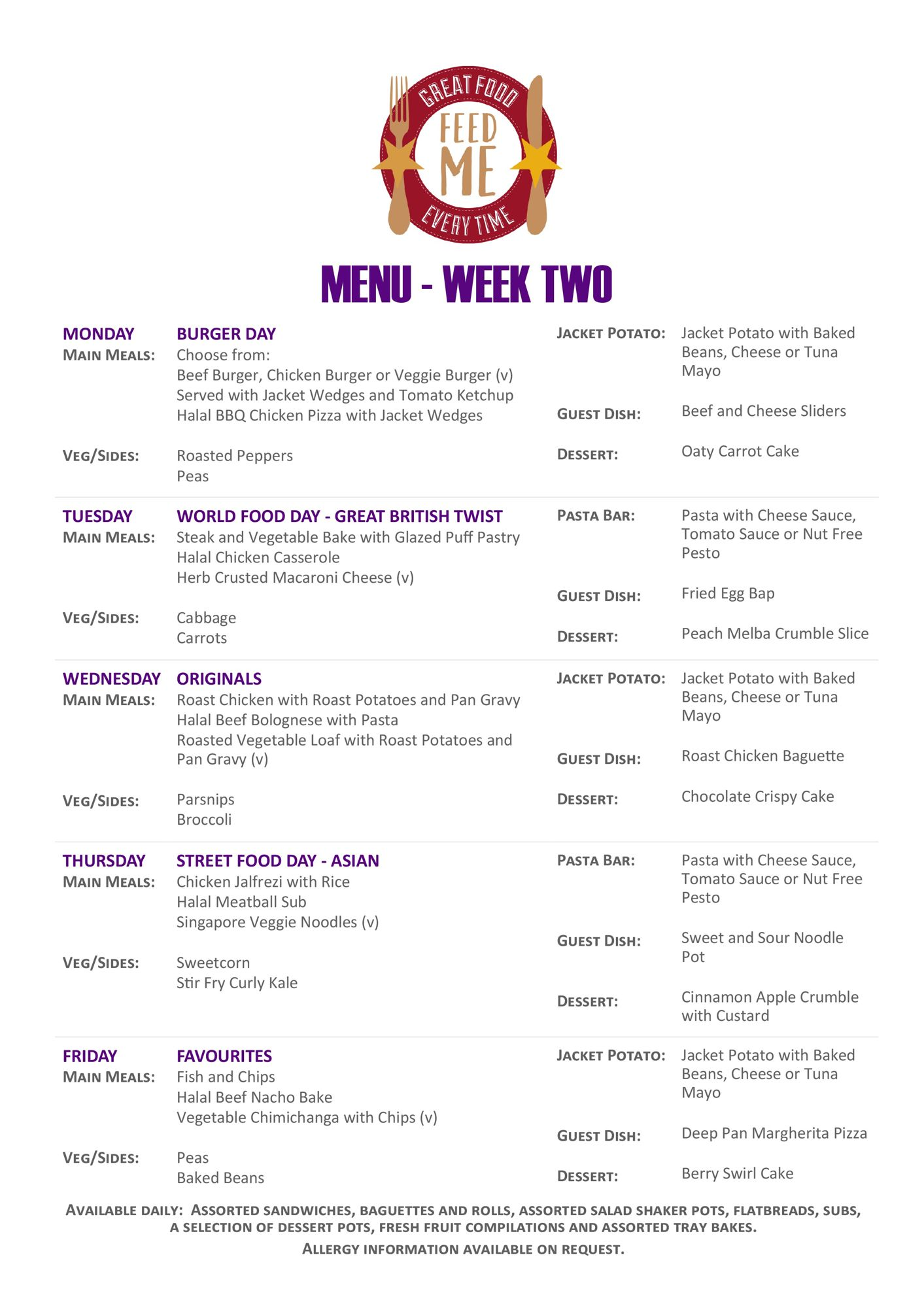 Caterham portrait weekly menu purple page 1