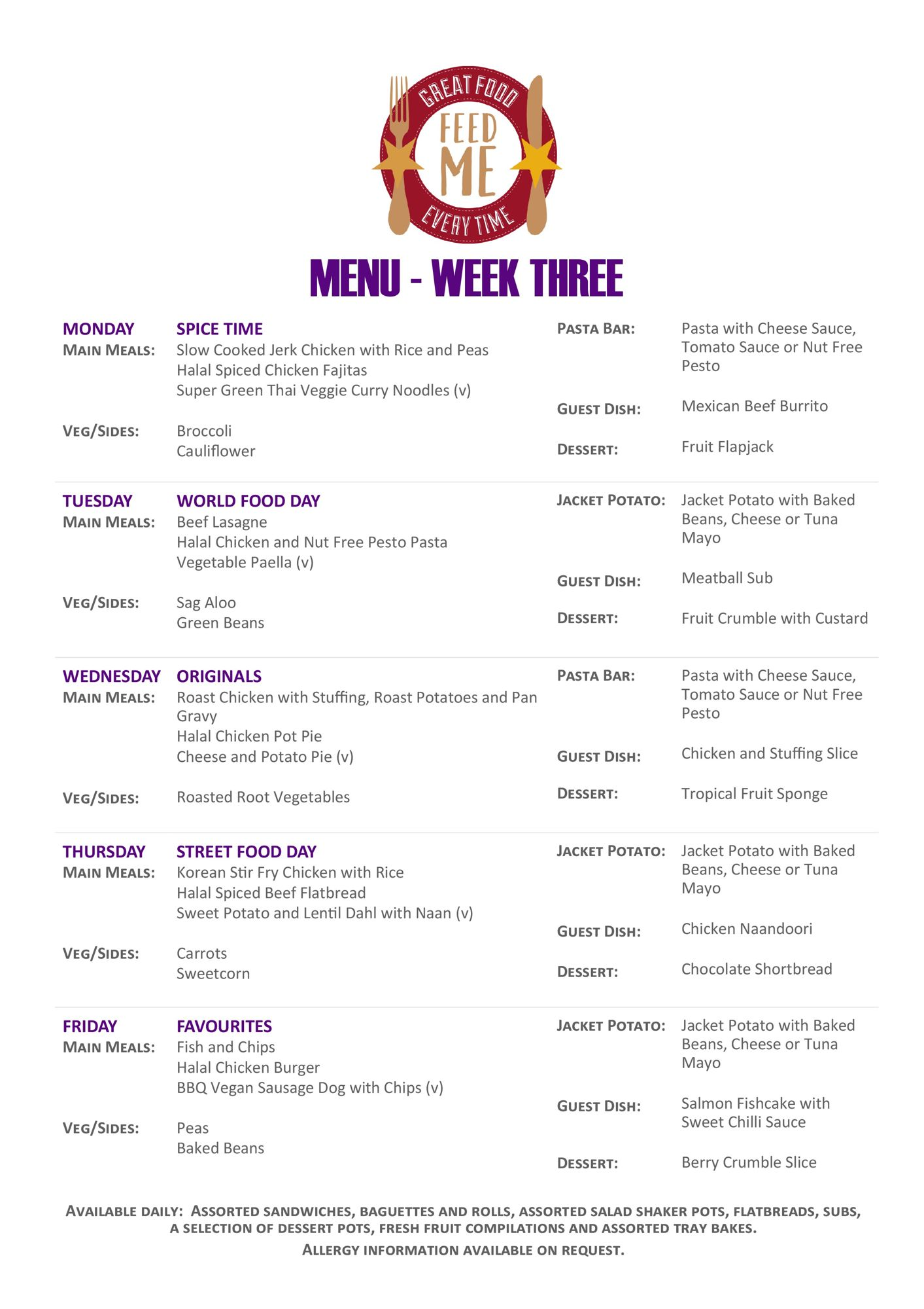 Caterham portrait weekly menu purple page 2