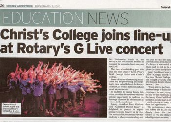 Christ's College joins line-up at Rotary's G-Live concert
