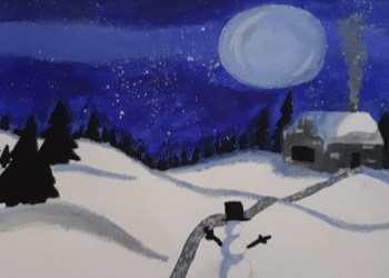Students Create Drawings Of Winter Scenes