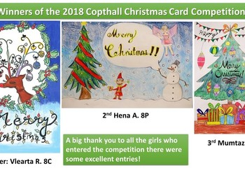 Winners of the 2018 Copthall Christmas Card Competition
