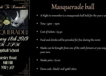 Masquerade Ball Year 7 & 8 on 18th January 2019