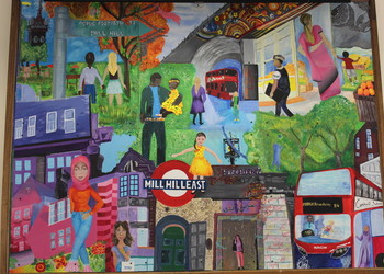 Copthall Art Mural on Display in the NW7 HUB, Mill Hill