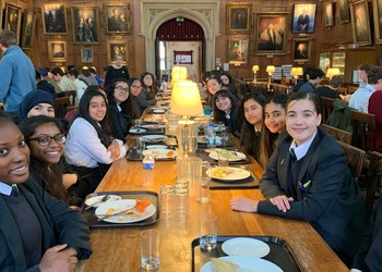 Year 10 students enjoying lunch at Christ Church College, Oxford University as part of the Horizons Programme