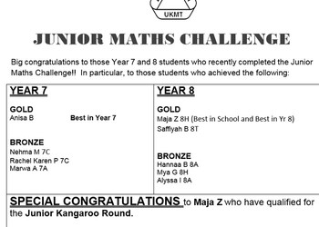 Year 7 & Year 8 - Maths Challenge 2019