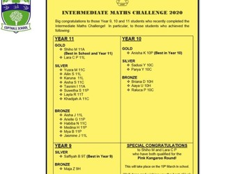 Intermediate Mathematics Challenge 2020 Results