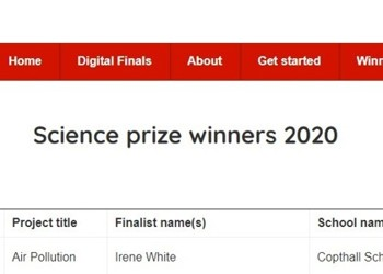 Congratulations to Irene W. in Year 8 for winning the Science Prize, Big Bang Competition
