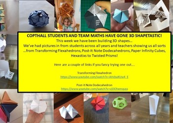 COPTHALL STUDENTS AND TEAM MATHS HAVE GONE 3D SHAPETASTIC!