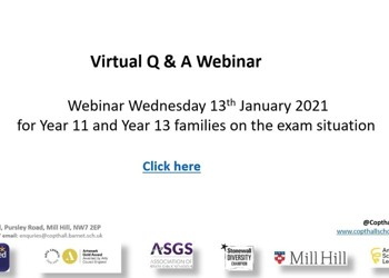 Virtual Q & A Webinar for Year 11 & 13 Families Regarding Examinations.
