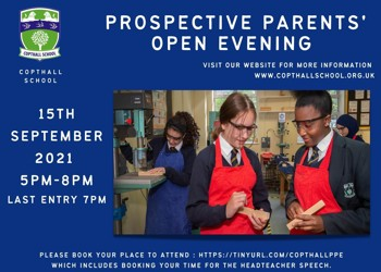 Prospective Parents' Open Evening 15th September 2021 from 5-8pm