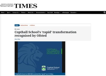 Copthall School featured in the Times Series on 8th June 2018