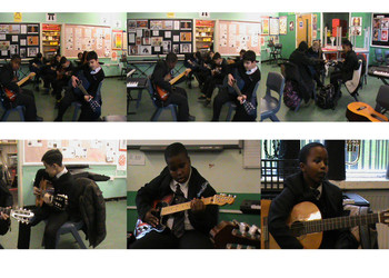 Yr7 students taking guitar lessons
