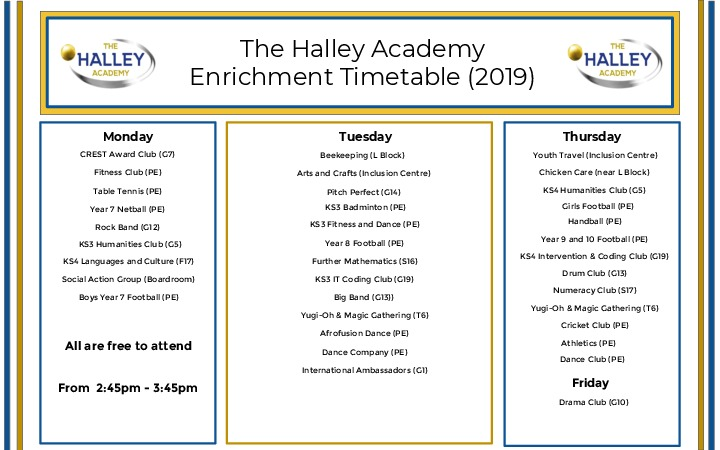 Enrichment Timetable (2018 19) nov18 (1)