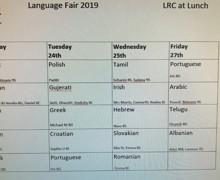 Language fair timetable