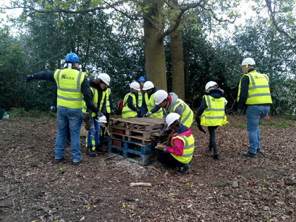 Bug Hotel Building at Baldwins Lane April 2019