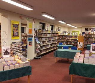 Library set up for literary festival 4