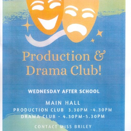 New Production & Drama Club for September 2019!