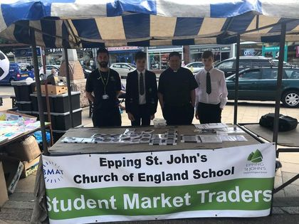 Students trade at business market