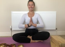 Teacher holds yoga sessions for colleagues