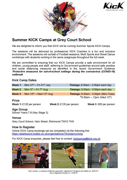 Kick camp flyer grey court
