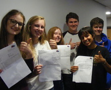 HWS Sixth Formers, Annabelle, Sarah, Joe, Anjali and Alex delighted with their hatful of A star and A grades!