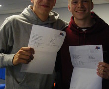 LtoR Hinchley Wood sixth formers, Louis and Max, over the moon with their results!