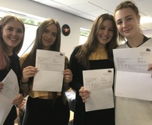 Emma Morris, Lauren Comrie, Abbie Elliott and Katrina Crow are looking forward to a relaxing summer after receiving their A level results at Hinchley Wood Sixth Form.
