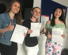 HWS Sixth Form students Emma Lupoli, Joe Howarth and Sophie Chung looking very happy with their A Level results.