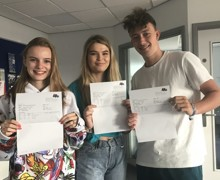 HWS Sixth Form students Paige Goodey, Emily Godfrey and Charlie Coleman are rather pleased with and very proud of their A Level results