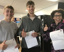 Sam Shaw and Jake Campbell join fellow Hinchley Wood Sixth Form student Helen Youssef in celebrating their great results.