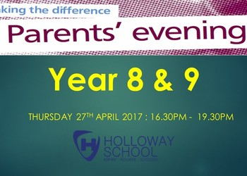 Year 8 & 9 Parents' Evening : Thurs 27th April 4.30-7.30pm