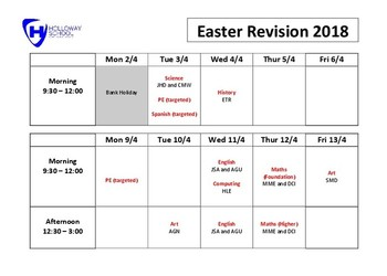 Yr11 Easter Revision Schedule