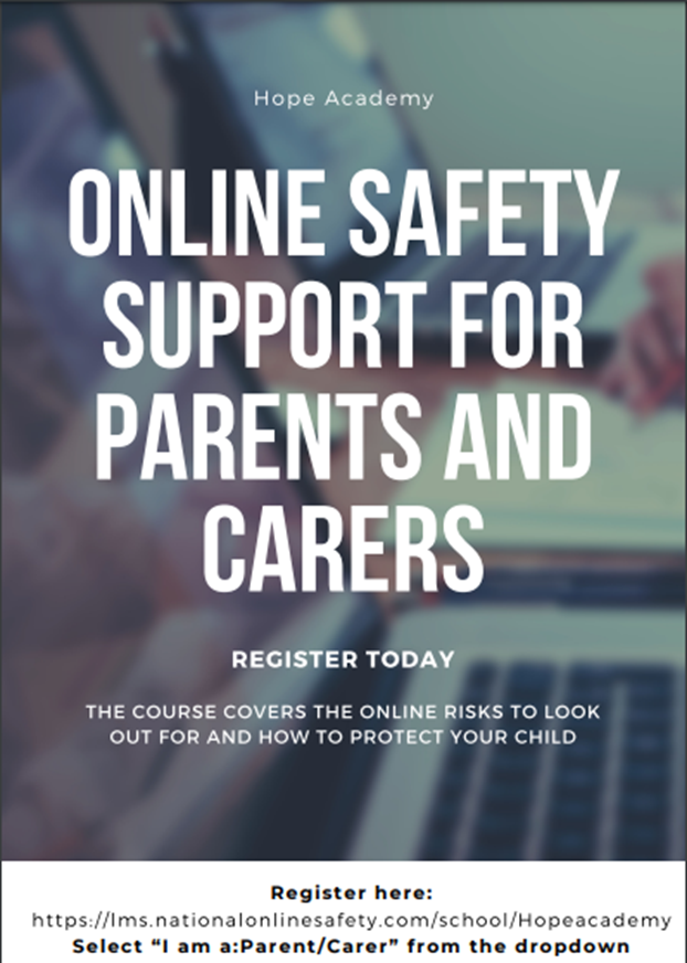 Parent online safety poster hope website