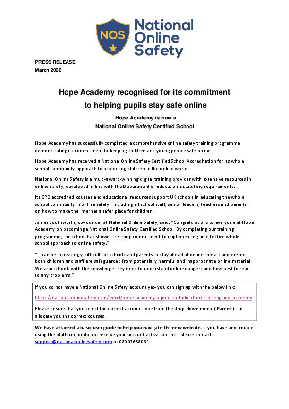 Nos press release hope academy parents