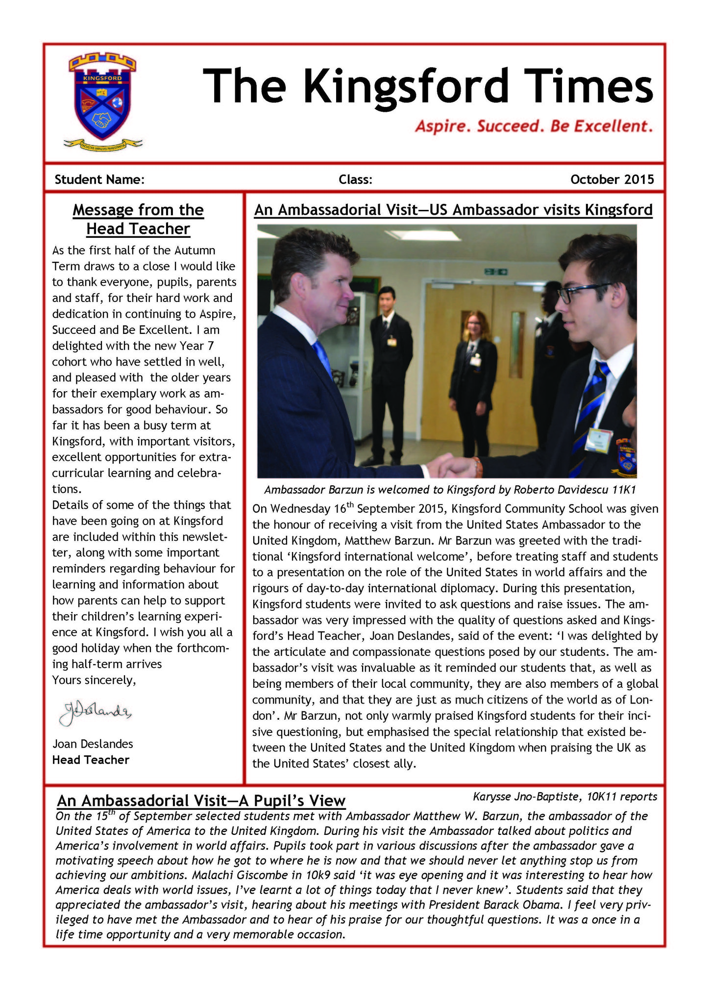 Autumn Term Newsletter Page 1