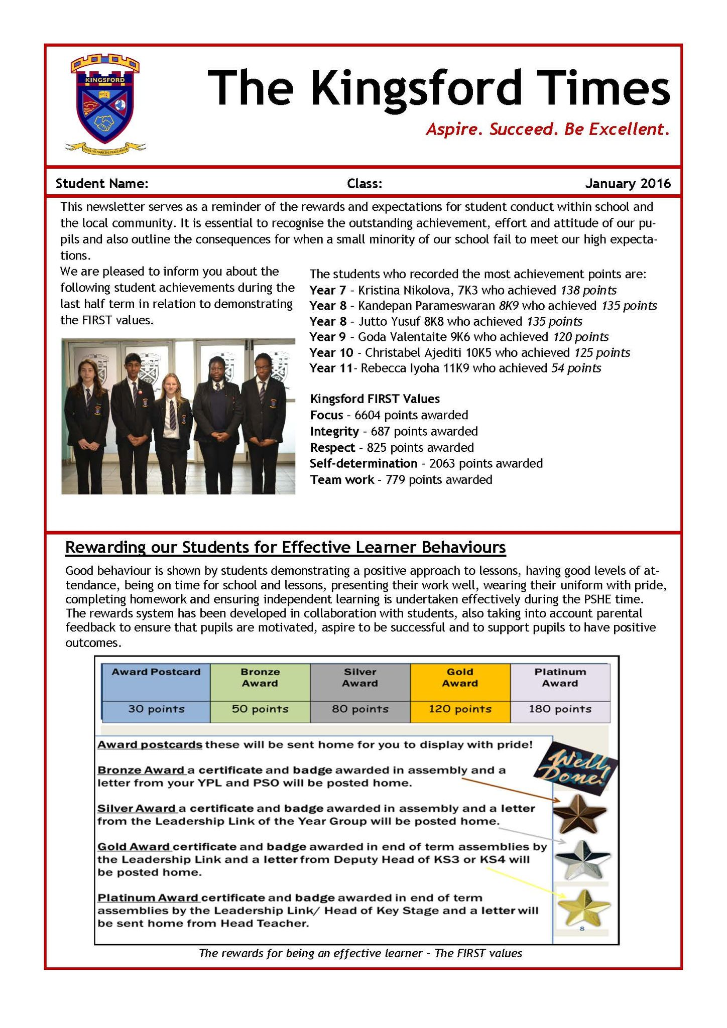 January Behaviour Newsletter Page 1