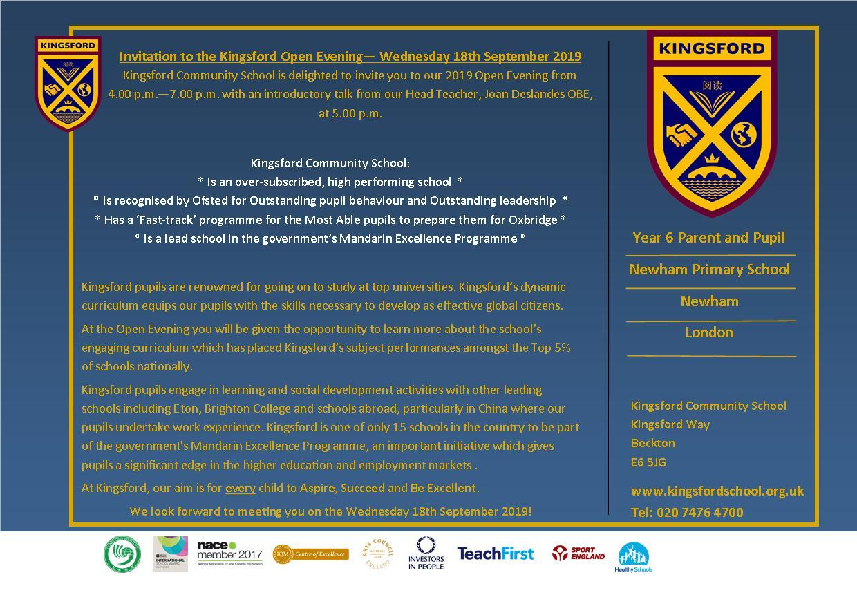 Kingsford Community School Open evening postcard 18th September 2019 (1)
