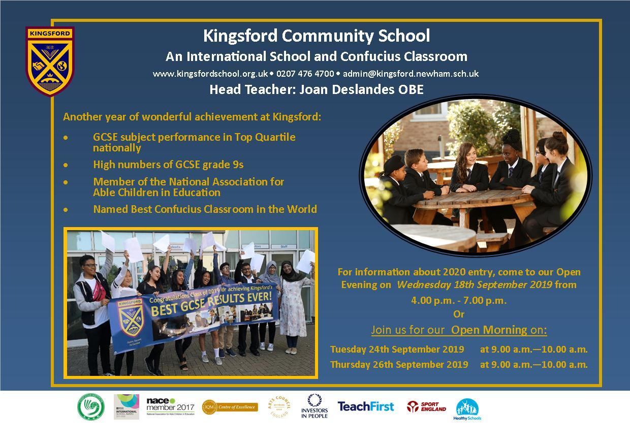 Kingsford Community School Open evening postcard 18th September 2019 (2)