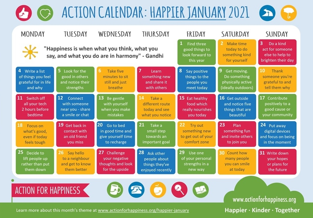 Action for Happiness Happier January 2021